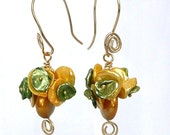 Penny Posy -- Dangling Keshi pearl earrings in yellow, gold and green
