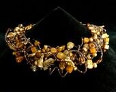 Multistrand wavy golden pearl choker, Desert Sands necklace, Biwa pearl multi stone choker, Boho Chic beaded choker, golden brown statement