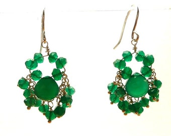 Evergreens -- Dangling Green earrings with sterling silver and green onyx