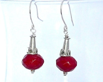 Raise the Red Lantern -- Long dangling earrings with red jade and sterling/marcasite cones