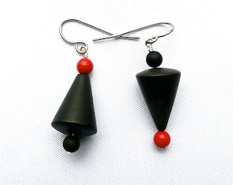 ART DECO Black Red Dangles, Pierrot Dangling Earrings, Asymmetrical earrings, Modern Earrings, Casual Earrings, Urban Chic Dangles