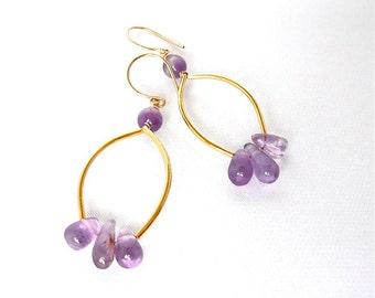 Viola Odorata - Gold vermeil and amethyst dangling earrings