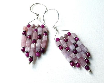 Blooming Lilacs -- Big and beautiful purple and lilac earrings in my own 'Art Deco' design