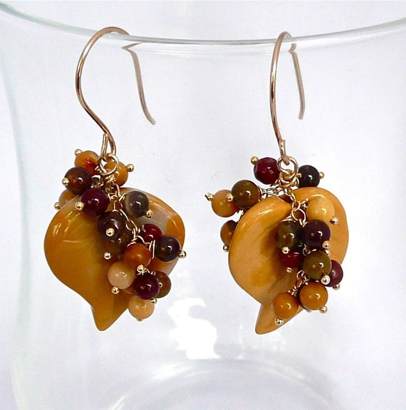 Harvest -- Dangling golden earrings with mookaite leaf and clusters
