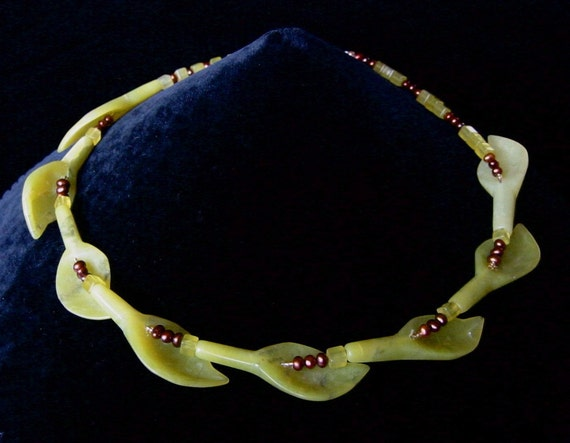 Beechnuts -- Striking choker in lime green serpentine and tiny bronze freshwater pearls