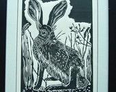 Hare - lino print