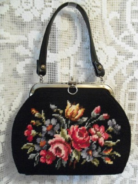 Vintage Black Purse with needlepoint front