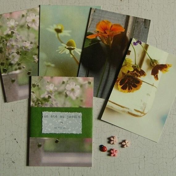 A summer garden. Set of 4 postcards.