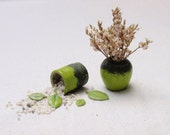 "Dollhouse jars -  vases green pottery ""cracklé effect"" OOAK"