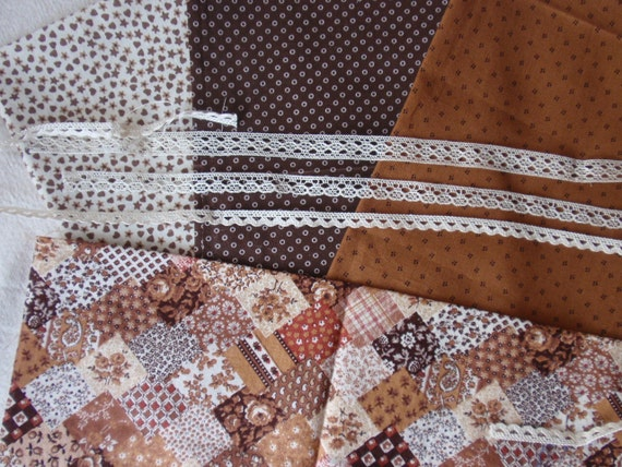 12th scale set of  brown and cream fabrics and laces, easy to make a patchwork quilt...