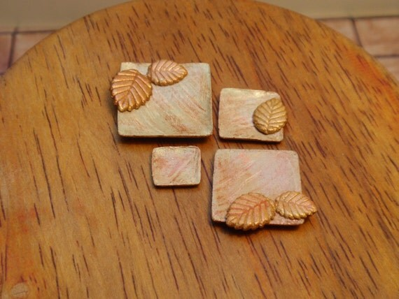 12th scale pottery set , 4 square hand-made  plates autumn inspiration, OOAK