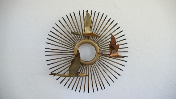 Brass Starburst with Geese Wall Hanging - reserved for Banjobird
