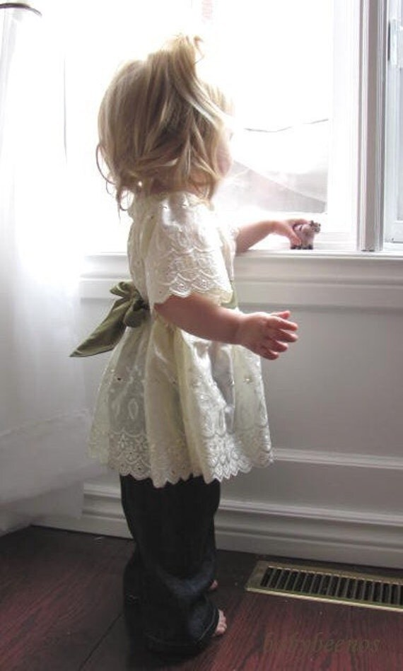 RESERVED for Helfrich30  -  VICTORIA - Sweet Twirl Peasant Blouse - VANILLA CREAM -  Ready to Ship Size - 3T