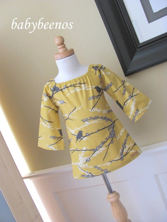 RIO - Fall 2011 - Girls Peasant Dress - Aviary in Mustard - Made to Order - Sizes 6m, 12m, 18m, 2t, 3t, 4t, 5, 6, 7, 8