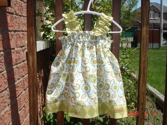 BELLA Ruffle Tank Dress \/ Blouse - GARDEN PARTY- available in custom sizes 6m, 12m, 18m, 2T, 3T, 4T, 5, 6, 7, 8