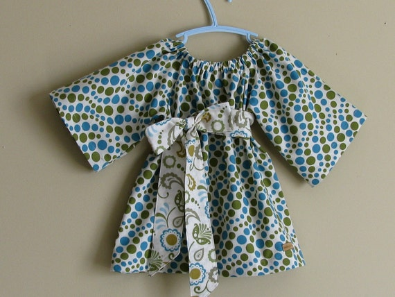 RESERVED for SarahsReef - CHLOE - Fall 2009 - Peasant Sash Blouse - RAIN DROP-  READY TO SHIP Size 3T