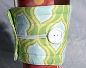 Coffee cup sleeve / coffee cup cozy Cup cozy, cup sleeve, fabric quilted, Modern, yellow, green