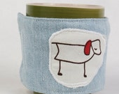 coffee mug cozy, coffee cup cozy, fabric, blue, denim,  reuseable eco friendly: dog