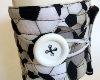 Coffee cup sleeve or coffee cup cozy, black white, soccer ball