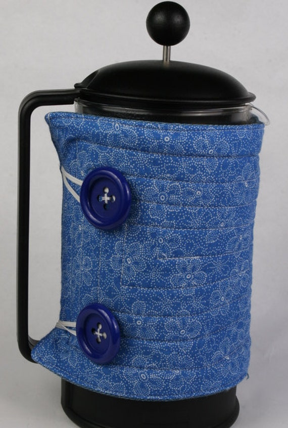 French Press coffee pot cozy, French coffee press cozy, coffee press cover, Coffee press warmer, Blue Cotton floral