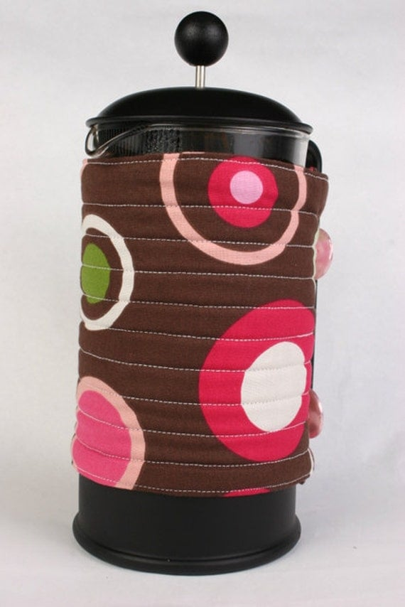 French Press coffee pot cozy, French coffee press cozy, coffee press cover, Coffee press warmer, Dots and circles