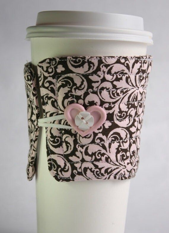 cloth cup cozy handmade / Fabric coffee sleeve  brown and pink arabesque