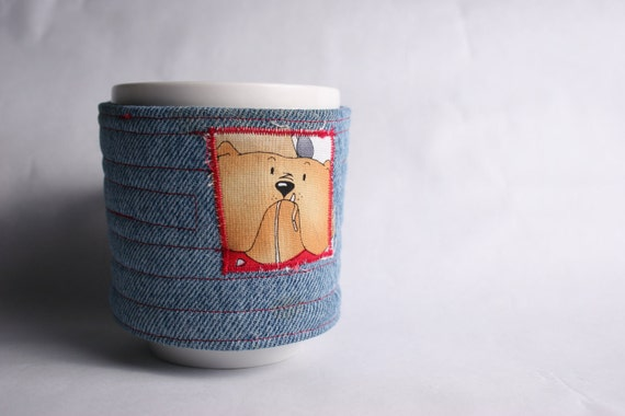coffee mug cozy, coffee cup cozy, fabric, blue,recycled upcycle denim,  reuseable eco friendly: dog