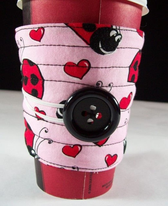 Coffee cup sleeve cover / coffee cup cozy reuseable eco friendly, fabric coffee cozy: Red hearts and ladybugs
