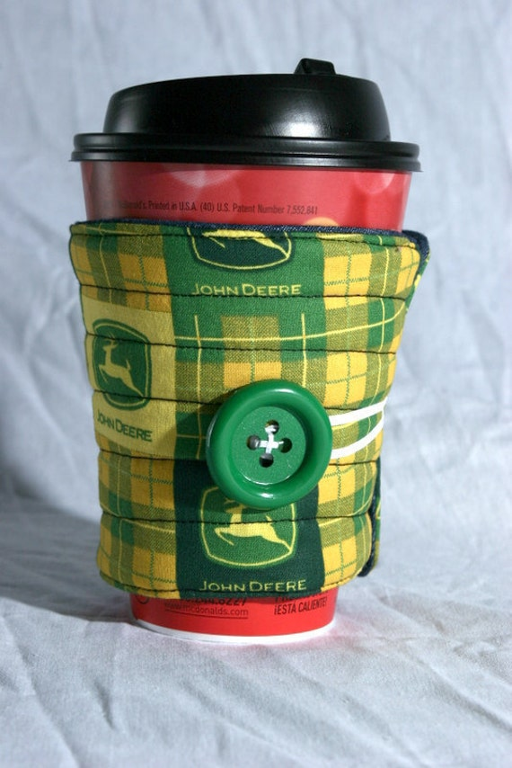 cup cozy, coffee cup sleeve cosy, fabric, quilted, green, yellow: John Deere