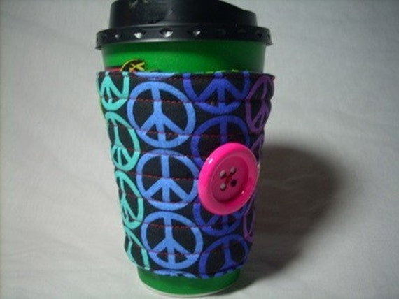 coffee cup sleeve  coffee cup cozy reuseable eco friendly: rainbow peace sign,