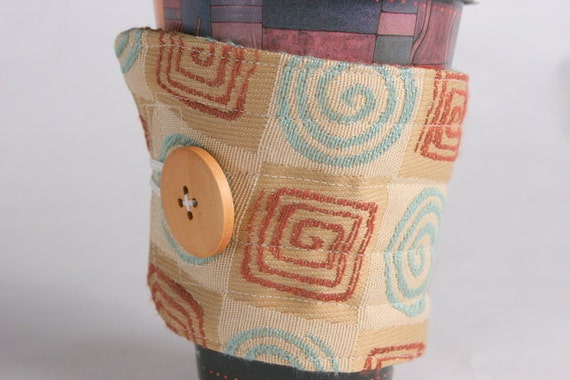Coffee Cup Sleeve / Coffee Cup Cozy, cup cozy or sleeve, upcycle recycle greometric swirls