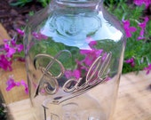 TALL Upcycled/Repurposed Vintage Glass Ball Ideal Mason Jar VASE
