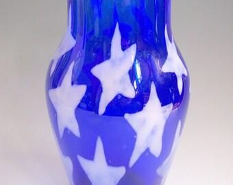 Starry Sky Hand Blown Art Glass Fourth of July Vase by Riker Art Glass-OOAK