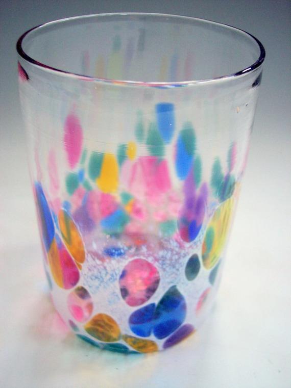 Hand Blown Glass Tumbler, Glassware, Juice Glass by Riker Art Glass