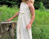 ECO Star, organic dress for girls, wrap style halter with long straps, great as flowergirl dress as well