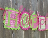 NEW--Happy Birthday Banner- Hopscotch (hotpink and lime green)