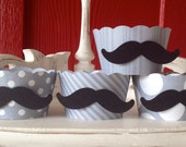 Mustache Cupcake Wrappers in Gray Polka and Stripe