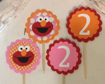 Girlie Elmo Cupcake toppers-Set of 12
