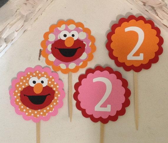 Girlie Elmo Cupcake toppers-Set of 12