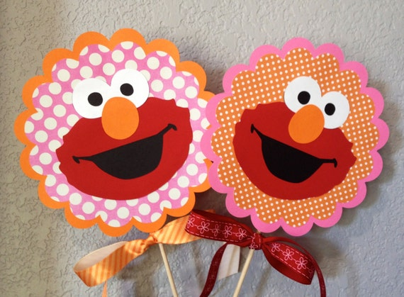 Girlie Elmo Single Sided Table Decorations- Set of 2