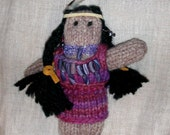 WINONA DOLL Small Native American Indian with Black Braids Black Eyes Hand-dyed Purple Dress and Faux Wampum