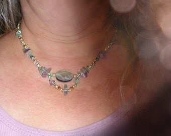 Faerie Fluorite Nugget Necklace with Unique Abalone Focal Oval Piece Teal and Green Glass Vintage Costume Jewelry Pearls and Goldtone Beads