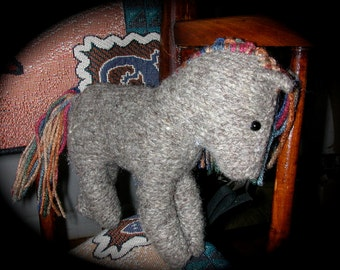 Winona Doll Waldorf Style Stocky Pony is Gray Wool with Multicolored Mane and Tail