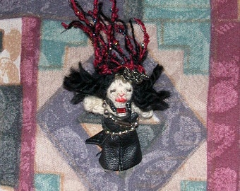 Miniature Goth Cabaret Snake Oil Gypsy Winona Doll in Leather and Chain