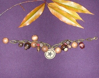 Wooden Charm Bracelet with Focal Star on Chunky Antiqued Brass looking Chain