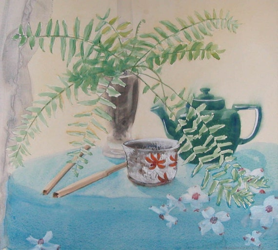ORIGINAL Watercolor Sunwashed Boston Fern on Dogwood Tablecloth with Teapot and Chopsticks