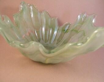 Vintage Murano Lavorazione Glass Bowl Green Swirl Art Glass Bowl Collectible Glass Made in Italy Italian Glass Bowl