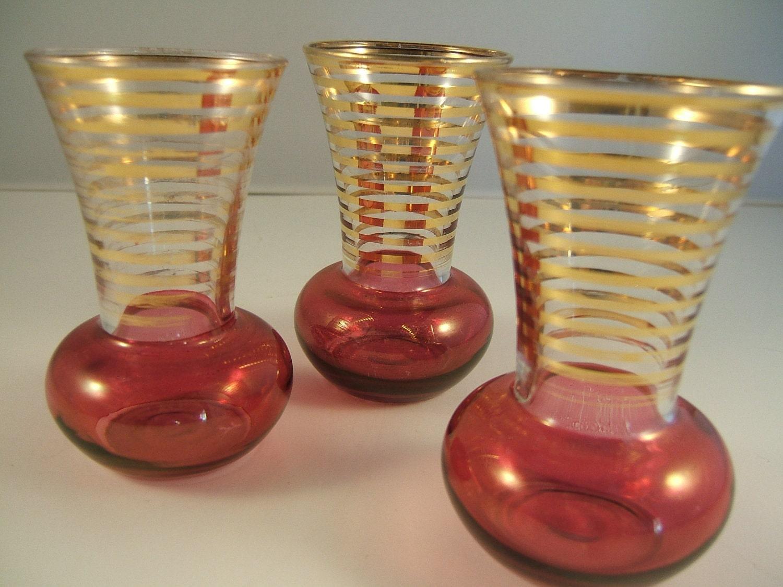 Vintage Glass Flower Vases Rose Colored with Gold Stripes Set