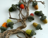 10 Magic Forest  Acorns - crocheted and felted