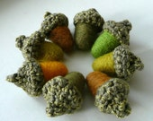 8 spring green wool acorns - crocheted and felted- Thanksgiving table decoration Christmas ornament autumn fall